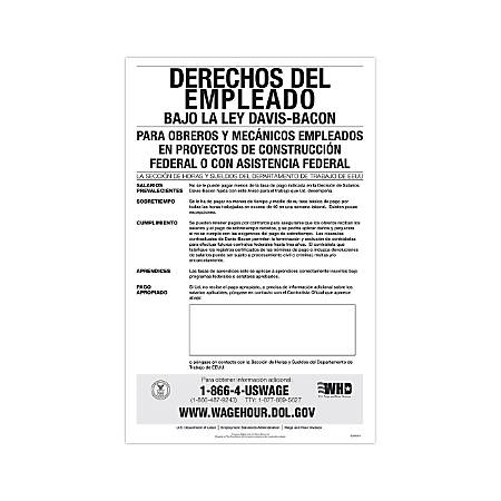 "ComplyRight Federal Contractor Posters, Spanish, Davis-Bacon Act, 11"" x 17"""