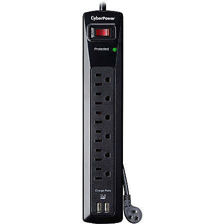 CyberPower CSP604U Professional 6-Outlets Surge with 1200J, 2-2.1A USB and 4FT Cord - Plain Brown Boxes