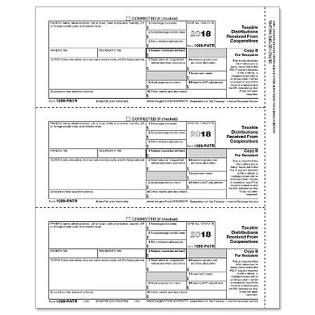 """ComplyRight™ 1099-PATR Inkjet/Laser Tax Forms, Recipient Copy B, 8 1/2"""" x 11"""", Pack Of 50 Forms"""