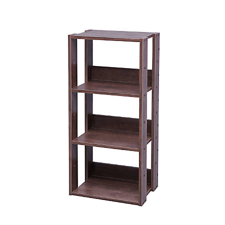 "IRIS Mado 35""H 3-Tier Open Shelving Unit, Brown"