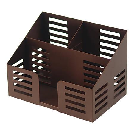Lorell® Stamped Metal Desktop Organizer, 3-Compartment, Bronze