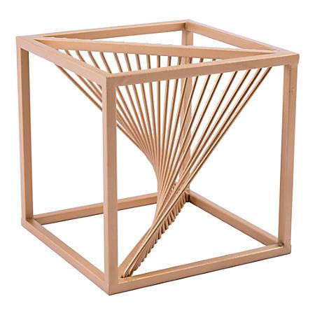 """Zuo Modern Twisted Cube Sculpture, 7 15/16""""H x 7 15/16""""W x 7 15/16""""D, Antique Brass"""