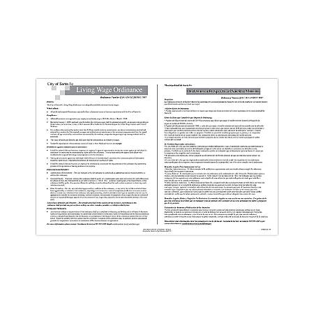 """ComplyRight City & County Specialty Posters, Bilingual, Santa Fe, Living Wage Ordinance, 11"""" x 17"""""""