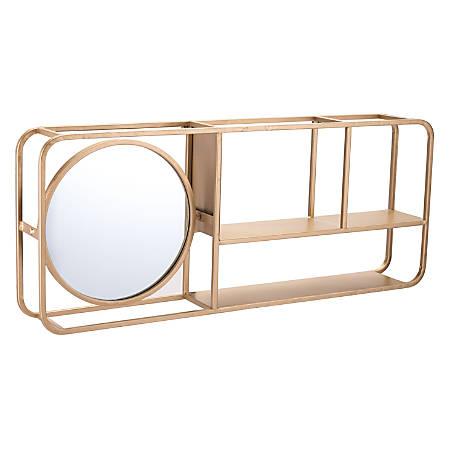 Zuo Modern Shelf With Mirror, Gold