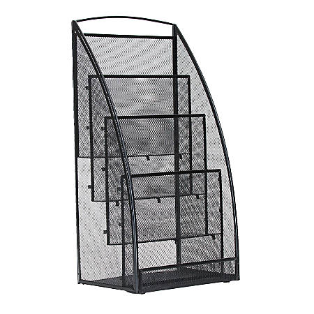 "Mind Reader Skim 4-Pocket Metal Mesh Magazine Rack, 23 1/2""H x 11 1/2""W x 8 1/2""D, Black"