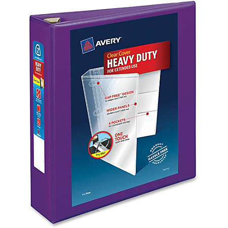 "Avery® Heavy-Duty View Binder With Locking EZD Rings, 2"" Rings, 39% Recycled, Purple"