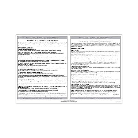 """ComplyRight City & County Specialty Posters, English, Jersey City, Earned Sick Time Ordinance, 11"""" x 17"""""""