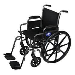"Medline K1 Basic Wheelchair, Swing Away, 16"" Seat, Gray"