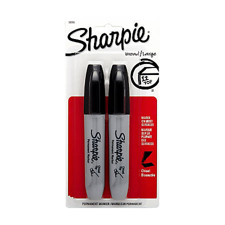 Sharpie® Chisel-Tip Permanent Markers, Black, Pack Of 2
