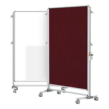 """Ghent Nexus Partition Double-Sided Mobile Magnetic Whiteboard And Bulletin Board, Porcelain/Fabric, 65"""" x 46-1/4"""", Merlot Fabric, Aluminum Frame"""