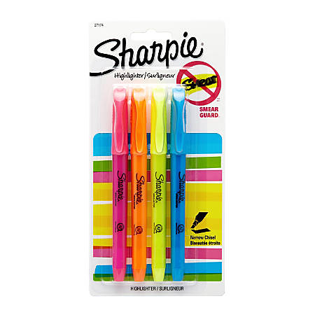 Sharpie® Accent® Pocket Highlighters, Assorted, Pack Of 4