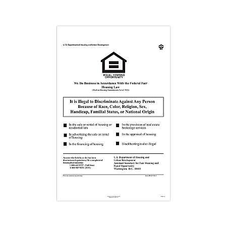 "ComplyRight Federal Specialty Posters, English, Federal Fair Housing, 11"" x 17"""
