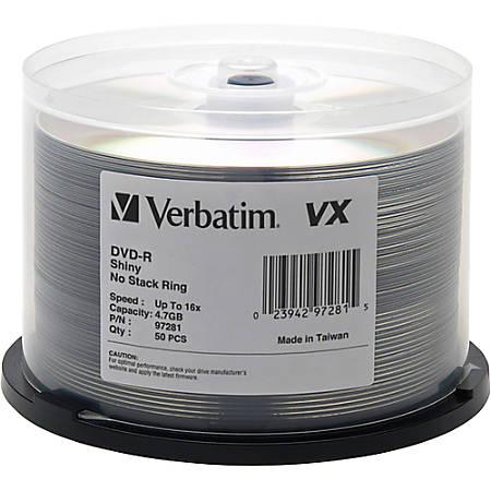 Verbatim DVD-R 4.7GB 16X VX Shiny Silver Silk Screen Printable - 50pk Spindle