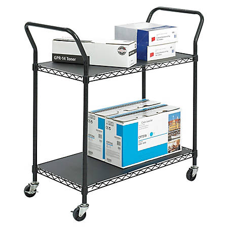 "Safco® Wire Utility Cart, 2 Shelves, 40 1/2""H x 43 3/4""W x 19 1/2""D, Black"