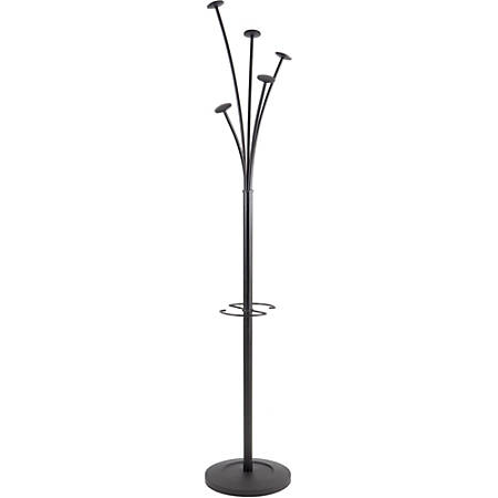 "ALBA Tree-Hook Coat Stand With Umbrella Holder, 73 5/8""H x 15""W x 15""D, Black"