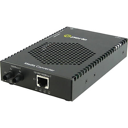 Perle S-1110P-S2ST160 Media Converter - 1x PoE (RJ-45) Ports - 1 x ST Ports - 1000Base-ZX, 10/100/1000Base-T - Rail-mountable, Rack-mountable, Wall Mountable