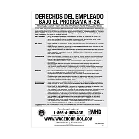 """ComplyRight Federal Specialty Posters, Spanish, Employee Rights Under The H-2A Program, 11"""" x 17"""""""