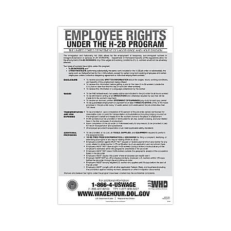 """ComplyRight Federal Specialty Posters, English, Employee Rights Under The H-2B Program, 11"""" x 17"""""""