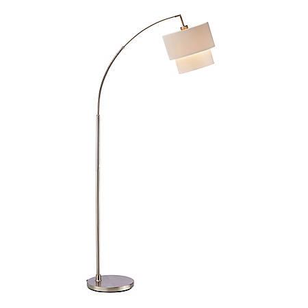 "Adesso® Gala Arc Floor Lamp, 71""H, White Shade/Silver Base"