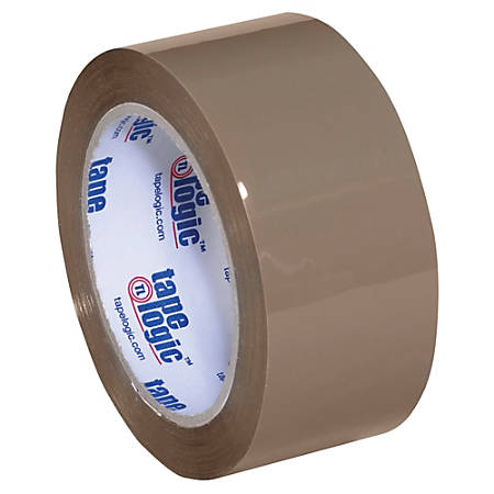 "Tape Logic® #350 Industrial Acrylic Tape, 3"" Core, 2"" x 55 Yd., Tan, Case Of 36"