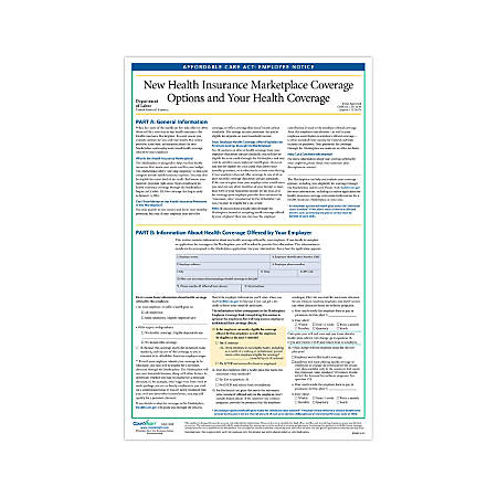 """ComplyRight Federal Specialty Posters, English, Affordable Care Act Employee Notice, 11"""" x 17"""""""
