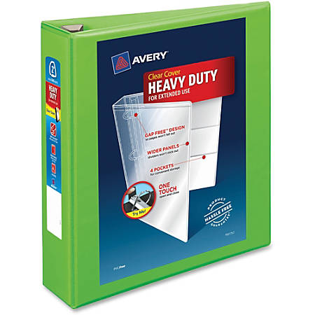 """Avery® Heavy-Duty View Binder With Locking EZD Rings, 2"""" Rings, 39% Recycled, Chartreuse"""