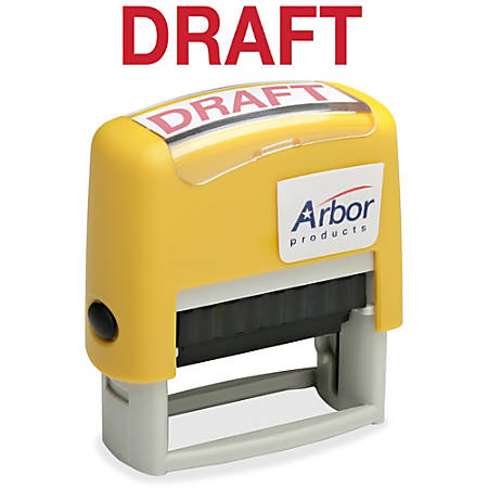 "SKILCRAFT® Pre-Inked Message Stamp, ""DRAFT"", Red Ink"