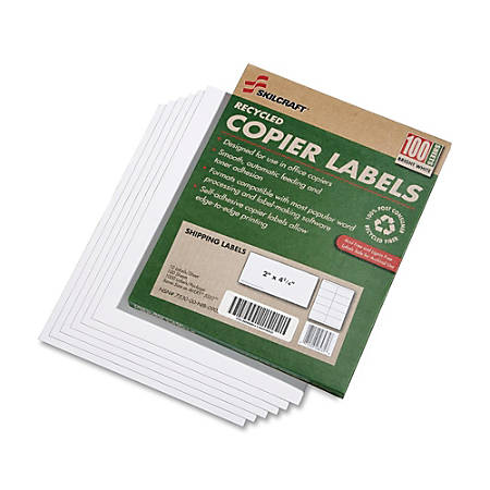 "SKILCRAFT® White Copier Shipping Labels, 2"" x 4 1/4"",100% Recycled, Box Of 100"
