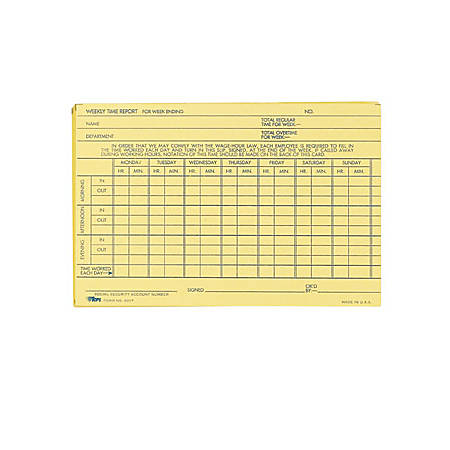 "TOPS Handwritten Weekly/Overtime Time Cards - 6"" x 4"" Sheet Size - Buff Sheet(s) - 100 / Pack"