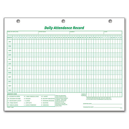 tops daily attendance record 8 12 x 11 pack of 50 by office depot