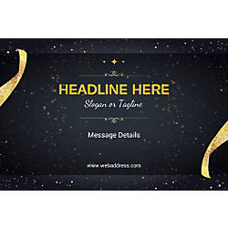 Horizontal Banner Gold Ribbons And Sparkles