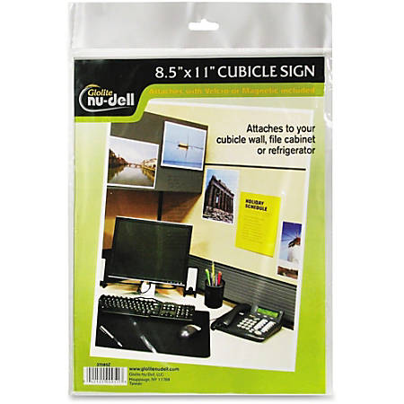 """Nu-Dell Cubicle Sign Holder - 1 Each - 8.5"""" Width x 11"""" Height - Rectangular Shape - Hook & Loop Fastener Closure - Acrylic - Clear"""