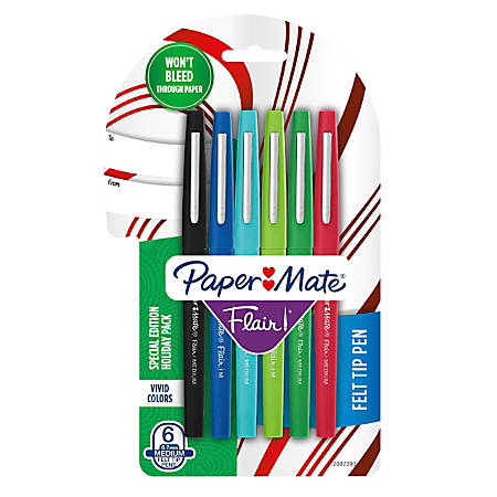 Paper Mate® Flair Porous-Point Pens, Medium Point, 0.7 mm, Assorted Ink Colors, Pack Of 6 Pens