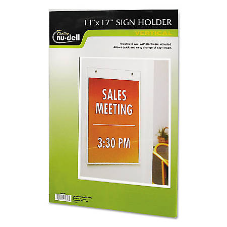"Nu-Dell Vertical Wall Sign Holder - 1 Each - 11"" Width x 17"" Height - Rectangular Shape - Pre-drilled - Acrylic - Clear"