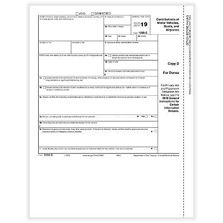 """ComplyRight™ 1098-C Laser/Inkjet Tax Forms, Copy D, 8-1/2"""" x 11"""", Pack Of 50 Forms"""