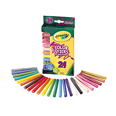 Crayola 24 Color Sticks Woodless Colored Pencils - Red, Red Orange, Orange, Yellow, Yellow Green, Green, Sky Blue, Blue, Violet, Brown, Black, ... Lead - 24 / Set