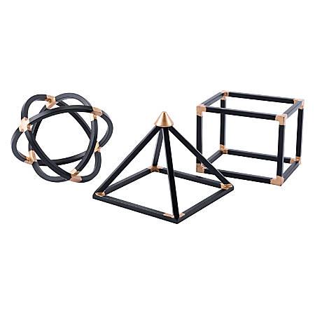 Zuo Modern Geo Shape Sculptures, Black, Set Of 3 Sculptures