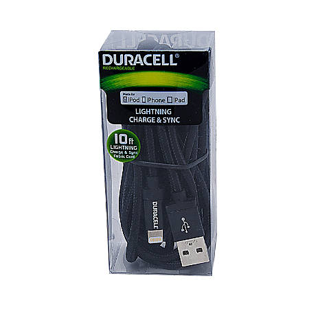 Duracell® Fabric Lightning Cable, 10', Black, LE2234