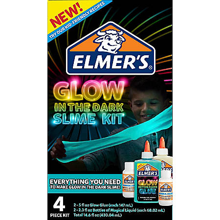 Elmer's® Slime Kit, Glow In The Dark Blue/Natural