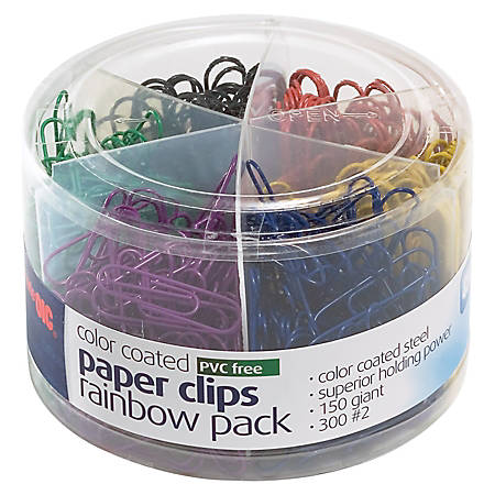 Officemate Nylon Coated Paper Clips, #2 and Giant Size, Assorted Colors, Pack Of 450