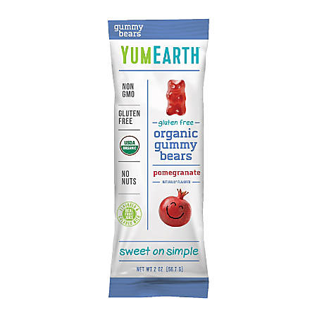 Yummy Earth Pomegranate Pucker Gummy Bears, 2 Oz, Pack Of 12 Bags
