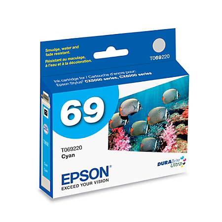 Epson® 69, (T069220-S) DuraBrite® Ultra Cyan Ink Cartridge