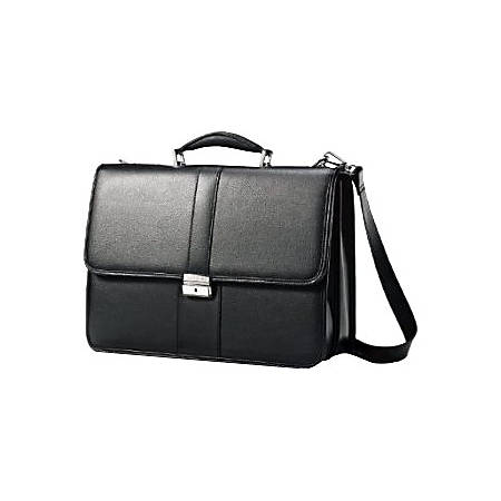 "Samsonite Carrying Case (Briefcase) for 15.6"" Notebook - Black - Leather - Shoulder Strap, Handle - 12"" Height x 16.5"" Width x 6"" Depth"