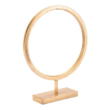 "Zuo Modern Circle Figurine, Small, 15""H x 11 7/16""W x 3 1/8""D, Gold"