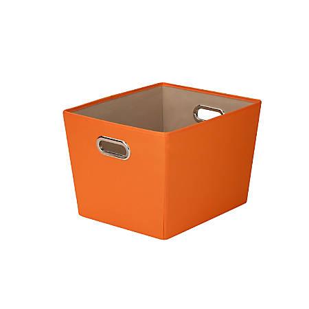 "Honey-Can-Do Medium Decorative Tote Bin With Handles, 15 3/4""L x 13""W x 10 13/16""H, Orange"