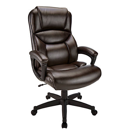 Realspace® Fennington Bonded Leather High-Back Executive Chair, Brown