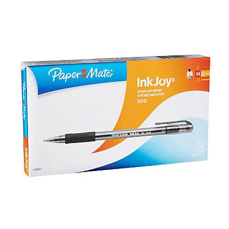Paper Mate® InkJoy™ 300 Stick Pens, Medium Point, 1.0 mm, Translucent Barrels, Black Ink, Pack Of 12 Pens