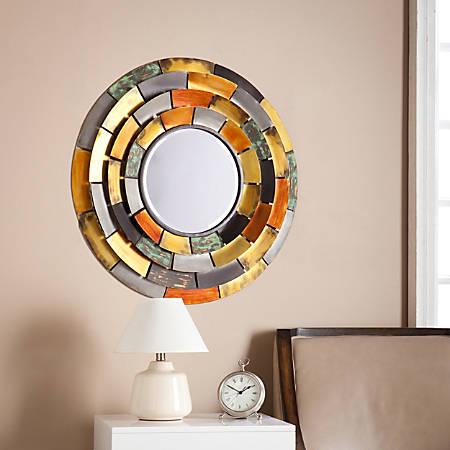 """Southern Enterprises Baroda Round Decorative Mirror, 31""""H x 31""""W x 2""""D, Multicolor"""