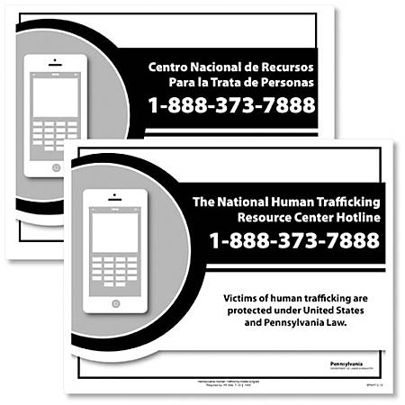 """ComplyRight State Specialty Posters, English/Spanish, Pennsylvania, Human Trafficking, 8 1/2"""" x 11"""", Pack Of 2"""