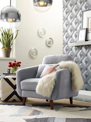 Sensational Elle Decor Chloe Mid Century Modern Arm Chair Light Gray Chestnut Item 882014 Cjindustries Chair Design For Home Cjindustriesco